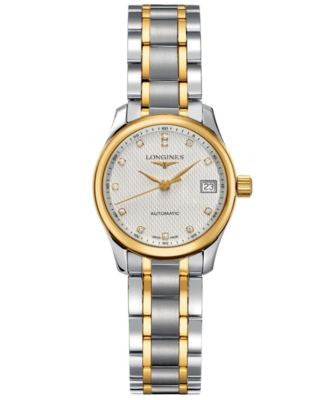 Longines Watch, Women's Swiss Automatic Master Diamond Accent 18k Gold and Stainless Steel Bracelet