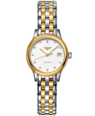 Longines Watch, Women's Swiss Automatic Flagship Diamond Accent Two Tone Stainless Steel Bracelet 26