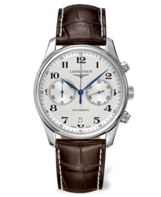 Longines Watch, Men's Swiss Automatic Chronograph Master Brown Alligator Leather Strap 40mm L2629478