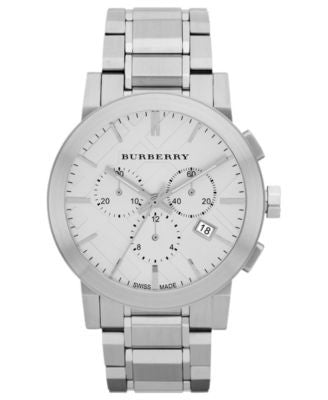 Burberry Watch, Men's Swiss Chronograph Stainless Steel Bracelet 42mm BU9350