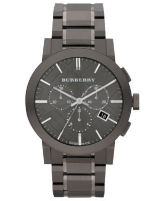 Burberry Watch, Men's Swiss Chronograph Gray Ion Plated Stainless Steel Bracelet 42mm BU9354