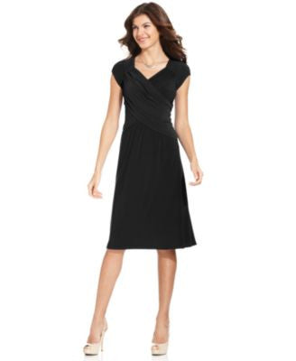 NY Collection B-Slim Cap-Sleeve Body-Shaper Dress