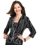 Alex Evenings Evening Set, Three-Quarter-Sleeve Glitter Jacket & Sleeveless Top