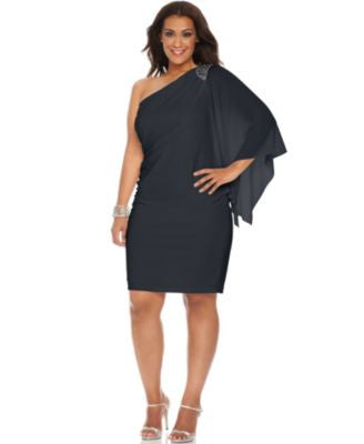 R&M Richards Plus Size One-Shoulder Beaded Dress