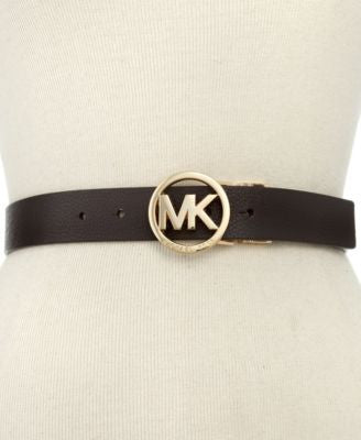 Michael Kors Reversible Leather Belt with Logo Buckle Belt
