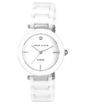 Anne Klein Watch, Women's Diamond Accent White Ceramic Bracelet 33mm AK-1019WTWT