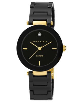 Anne Klein Watch, Women's Diamond Accent Black Ceramic Bracelet 33mm AK-1018BKBK
