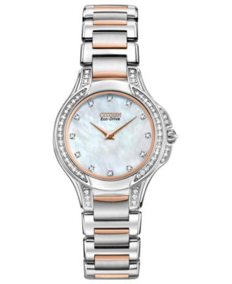 Citizen Women's Eco-Drive Signature Fiore Diamond (1/2 ct. t.w.) Two Tone Stainless Steel Bracelet W