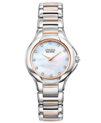 Citzen Women's Eco-Drive Signature Fiore Diamond Accent Two Tone Stainless Steel Bracelet Watch 30mm