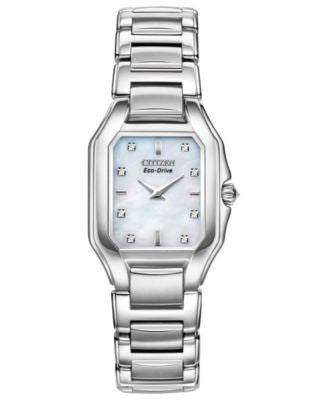 Citizen Women's Eco-Drive Signature Fiore Diamond Accent Stainless Steel Bracelet Watch 26x24mm EX11