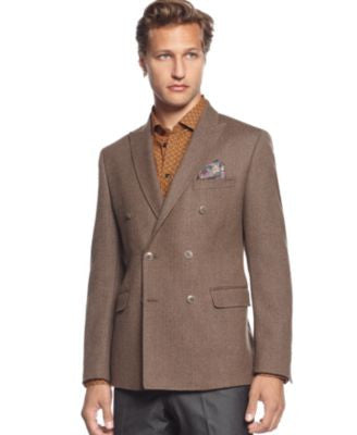 Tallia Men's Orange Jacket, Double Breasted Herringbone Sportcoat- Slim Fit