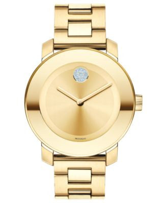 Movado Women's Swiss Bold Medium Gold Ion-Plated Stainless Steel Bracelet Watch 36mm 3600104