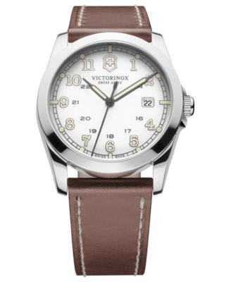 Victorinox Swiss Army Watch, Men's Infantry Brown Leather Strap 40mm 241564