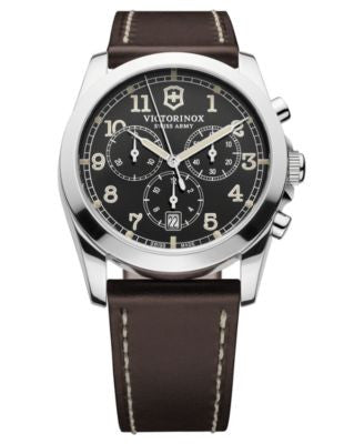 Victorinox Swiss Army Watch, Men's Infantry Chronograph Brown Leather Strap 40mm 241567