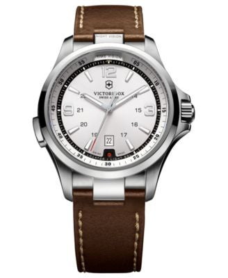 Victorinox Swiss Army Watch, Men's Night Vision Dark Brown Leather Strap 42mm 241570