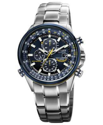 Citizen Men's Eco-Drive Blue Angels World Chronograph A-T Stainless Steel Bracelet Watch 43mm AT8020