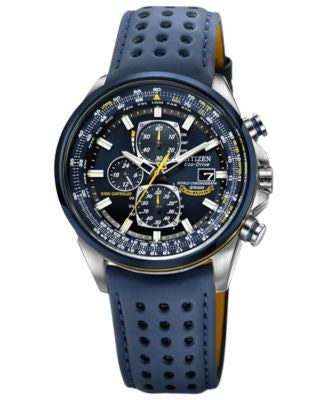 Citizen Men's Eco-Drive Blue Angels World Chronograph A-T Blue Perforated Leather Strap Watch 43mm A