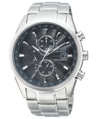 Citizen Men's Eco-Drive World Chronograph A-T Stainless Steel Bracelet Watch 43mm AT8010-58E