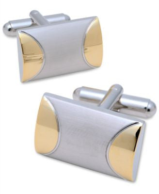Geoffrey Beene Cufflinks, Domed Rectangle in Brushed Rhodium With Gold-Tone Accent Cufflinks Boxed S