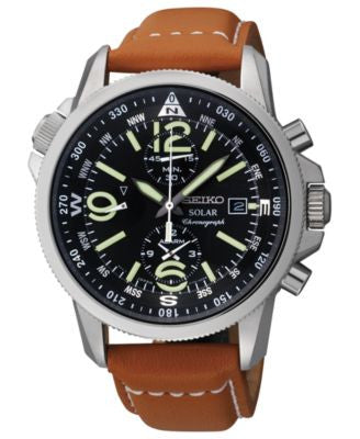 Seiko Watch, Men's Chronograph Solar Tan Leather Strap 42mm SSC081