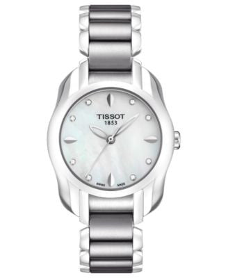 Tissot Watch, Women's Swiss T-Wave Diamond Accent Stainless Steel Bracelet 28x26mm T0232101111600