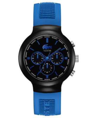 Lacoste L!VE Watch, Men's Chronograph Borneo Blue Silicone Strap 44mm 2010654