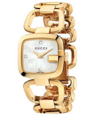 Gucci Watch, Women's Swiss G-Gucci Diamond Accent Yellow Gold PVD Stainless Steel Bracelet 24x22mm Y