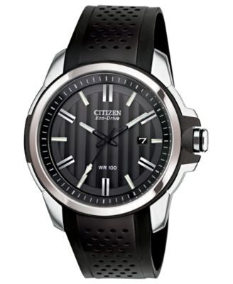 Citizen Men's Drive from Citizen Eco-Drive Black Rubber Strap Watch 45mm AW1150-07E