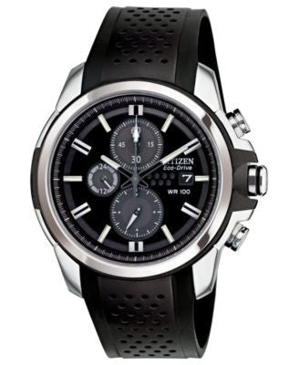 Citizen Men's Chronograph Drive from Citizen Eco-Drive Black Rubber Strap Watch 45mm CA0420-07E