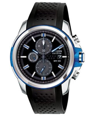 Citizen Men's Chronograph Drive from Citizen Eco-Drive Black Polyurethane Strap Watch 45mm CA0421-04