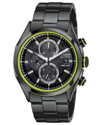 Citizen Men's Chronograph Drive from Citizen Eco-Drive Black Ion-Plated Stainless Steel Bracelet Wat