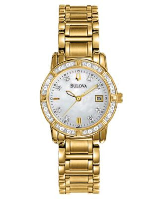 Bulova Women's Diamond Accent Gold-Tone Stainless Steel Bracelet Watch 26mm 98R165