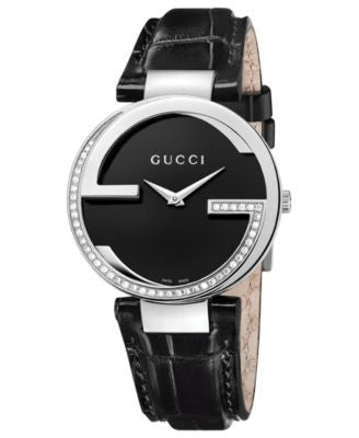 Gucci Watch, Women's Swiss Interlocking Diamond (3/10 ct. t.w.) Black Alligator Leather Strap 37mm Y