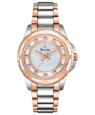 Bulova Women's Diamond Accent Two-Tone Stainless Steel Bracelet Watch 32mm 98P134