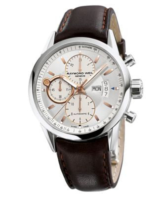 RAYMOND WEIL Watch, Men's Swiss Automatic Chronograph Freelancer Brown Leather Strap 42mm 7730-STC-6