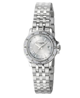 RAYMOND WEIL Watch, Women's Swiss Tango Diamond (1/5 ct. t.w.) Stainless Steel Bracelet 28mm 5399-ST