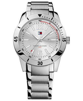 Tommy Hilfiger Watch, Men's Silver-Tone Bracelet 42mm 1790865