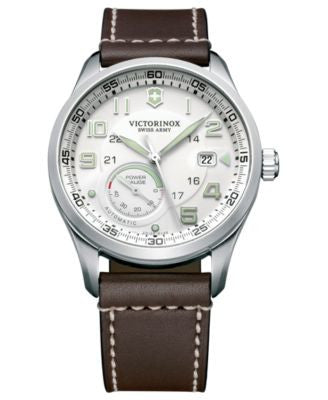 Victorinox Swiss Army Watch, Men's Automatic Airboss Mechanical Power Gauge Brown Leather Strap 42mm