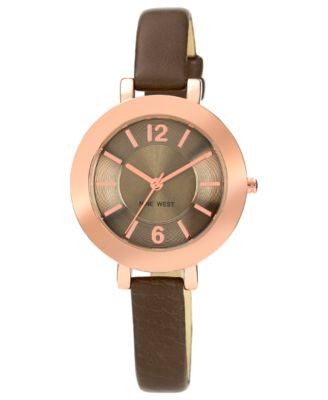 Nine West Women's Steel Gray Polyurethane Strap Watch 35mm NW-1319RGGY