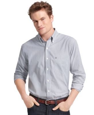 IZOD Big and Tall Essential Striped Long Sleeve Shirt