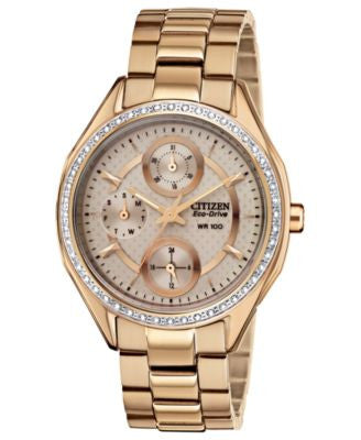 Citizen Women's Drive from Citizen Eco-Drive Rose Gold-Tone Stainless Steel Bracelet Watch 35mm FD10