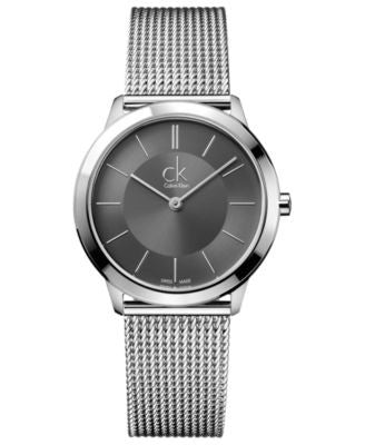 Calvin Klein Watch, Men's Swiss Minimal Stainless Steel Mesh Bracelet 35mm K3M22124