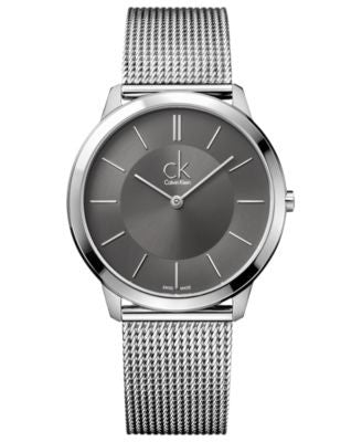 Calvin Klein Watch, Men's Swiss Minimal Stainless Steel Mesh Bracelet 40mm K3M21124