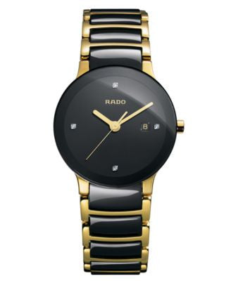 Rado Women's Swiss Centrix Diamond Accent Black Ceramic and Gold-Tone PVD Stainless Steel Bracelet W