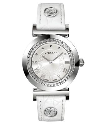Versace Watch, Women's Swiss Vanity White Croco Calfskin Leather Strap 35mm P5Q99D001 S001