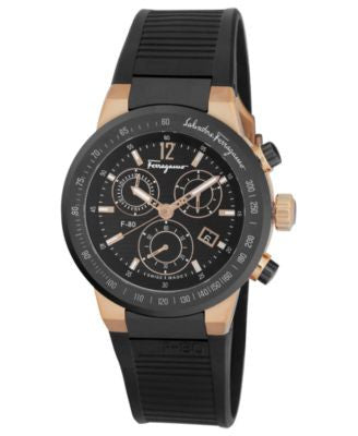 Ferragamo Watch, Men's Swiss Chronograph F-80 Black Rubber Strap 44mm F55LCQ75909S113