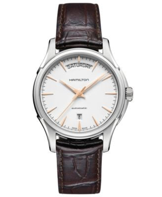 Hamilton Watch, Men's Swiss Automatic Jazzmaster Day Date Brown Leather Strap 40mm H32505511