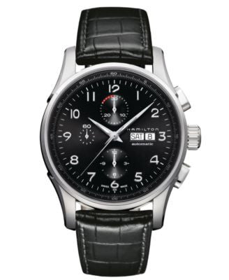Hamilton Watch, Men's Swiss Automatic Chronograph Jazzmaster Maestro Black Leather Strap 45mm H32716