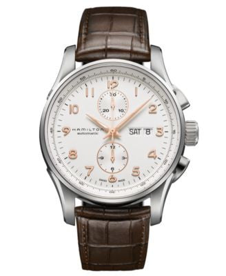 Hamilton Watch, Men's Swiss Automatic Chronograph Jazzmaster Maestro Brown Leather Strap 45mm H32766