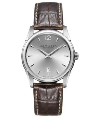 Hamilton Watch, Men's Swiss Automatic Jazzmaster Slim Brown Leather Strap 40mm H38515555